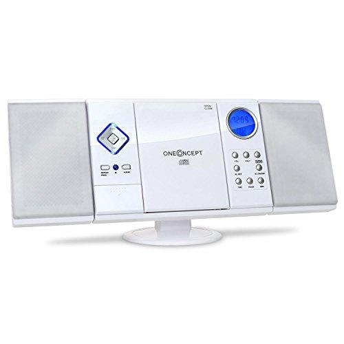 OneConcept V-12 - Stereoanlage mit CD-Player, Kompaktanlage, Microanlage, UKW Radiotuner, Mini HiFi Anlage mit USB, Ordnernavigation, SD-Slot, AUX-In, Fernbedienung, Wecker, Wandmontage, weiß