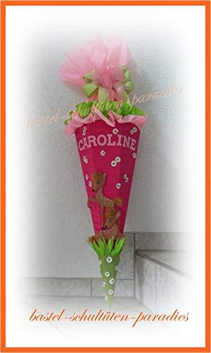 Schultüten Bastelset Reh Bambi mit Margeriten pink-grün-rosa