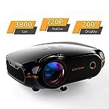 Mini Beamer, Portable Crenova Video Projektor, HD Beamer mit 200' Bildgröße unterstützt 1080P,3800 Lumen für PC/DVD/TV/Xbox/Filme/Spiele/Smartphone mit kostenlosem HDMI-Kabel,Schwarz