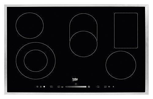 Beko HIC 85502 TX Elektro-Kochfeld / Breite: 77 cm / Touch-Slide-Sensortasten / Bräter-, Zweikreis- und Warmhaltezone / Edelstahlrahmen