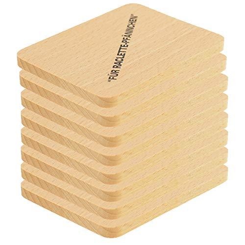 HOFMEISTER® Raclette Zubehör aus Holz, Schaber und Untersetzer für Raclette-Pfännchen, hochwertiges Naturprodukt aus EU Familienbetrieb (8x Brett, 1)