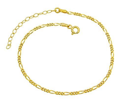 Damen Fußkettchen Figarokette 925 Sterling Silber vergoldet 2,3mm breit 20-25 cm lang Fußkette Armkette Anklet Gold nickelfrei