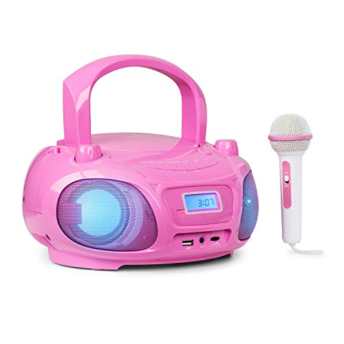 auna Roadie Sing - CD Player Kinder, Stereoanlage, Boombox, Sing-A-Long Funktion, Kinder CD Player mit USB-Port, UKW Radio, CD Player Kinder mit Mikrofon und Bluetooth 3.0, LED, Mikrofon, pink