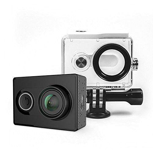YI Action Kamera gebündelt mit Wasserfestem Gehäuse 16MP 2K 1080P/60fps mit 2.4G WIFI Bluetooth 4.0 (Schwarz)