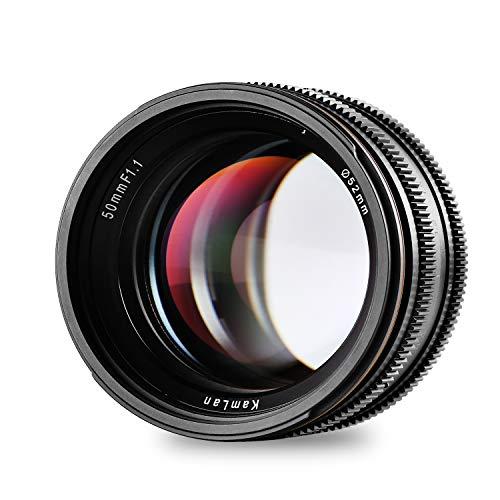 Kamlan 50mm F1.1 APS-C Große Blende Manueller Fixfokus Objektiv, Standard Prime Lens für Alle Fujifilm X Serie Spiegellose Kamera