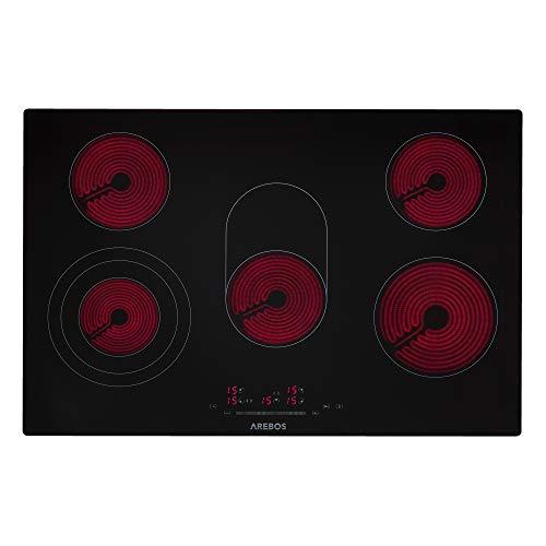 AREBOS Glaskeramikkochfeld   8600 W   5 Kochfelder   77cm   autark   inkl. Dual-Kochzone und Bräterzone   mit Sensor Touch   Kindersicherung   Überhitzungsschutz   Autoabschaltung