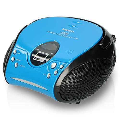 Lenco SCD24 - CD-Player für Kinder - CD-Radio - Stereoanlage - Boombox - UKW Radiotuner - Titel Speicher - 2 x 1,5 W RMS-Leistung - Netz- und Batteriebetrieb - Blau