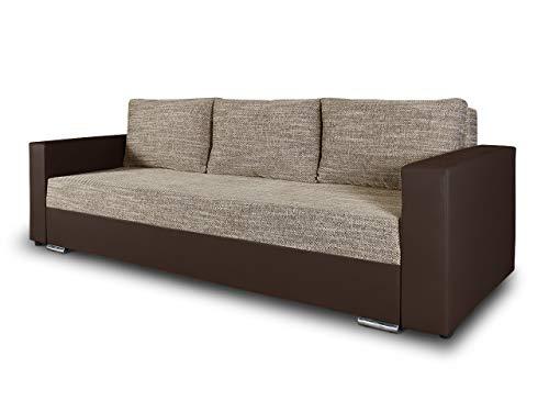 Schlafsofa Bird - Sofa mit Schlaffunktion und Bettkasten, Klappsofa, Schlafcouch mit Chromfüße, Couch, Couchgarnitur, Sofagarnitur (Braun + Beige (Dolaro 33 + Berlin 03))
