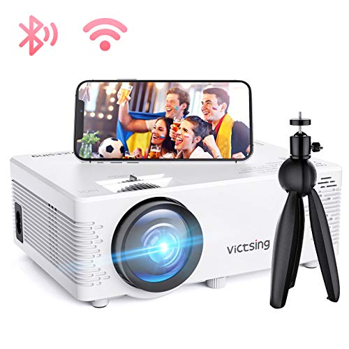 Mini Beamer, VicTsing WiFi Beamer Full HD 4000 Lumen Bluetooth LED Projektor, 1080P HD 170 '' Display 50000 Stunden, Wireless Video Beamer Kompatibel mit Smartphone, TV Stick, HDMI, VGA, SD, AV, USB