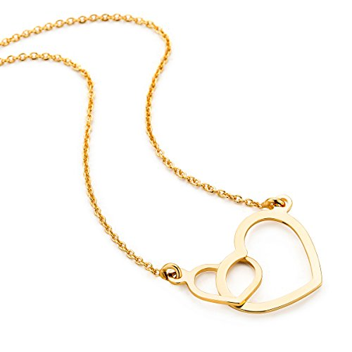 Orovi Kette - Halskette Damen Gelbgold 9 Karat / 375 Gold Kette mit Herz 45 cm Halskette in Italien hergestellt