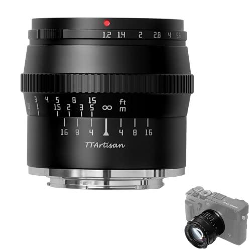 TTARTISAN 50mm F1.2 Objektiv APS-C MF für Fuji X Mount Kameras X-A1 X-A10 X-M1 X-M2 X-H1 X-T1 X-T10 X-T2 X-T20 X-T3 X-T4 X- T100 X-T200 X-T30 X-PR01 XS10 und mehr.(Black)
