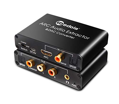 HDMI Audio Konverter Adapter & DAC Konverter, edola Digital HDMI ARC/SPDIF/Koaxial zu SPDIF/Koaxial/Optical + Cinch L/R Stereo-Ausgang + 3,5mm Audio HDMI Audio Extractor Splitter für TV