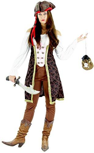 Piraten Kostüm für Damen Fasching Piratenbraut Frauen Karneval Fasching Größe S