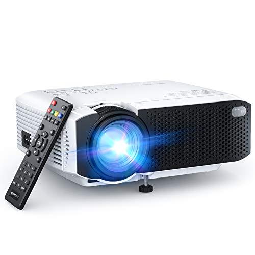 Beamer APEMAN Mini Beamer 1080 Full HD Kompatibel Tragbarer Projektor LED 60000 Stunden Heimkino mit 180'' Display,Sport HDMI,SD,USB,TV Box,Chromecast,iOS,Android Handy Beamer