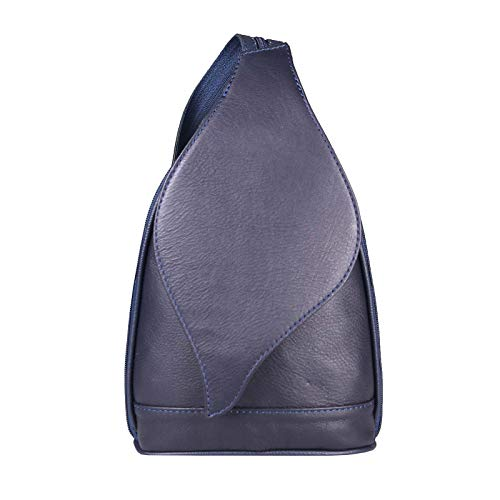 OBC Made in Italy Damen echt Leder Rucksack Lederrucksack Tasche Schultertasche Ledertasche Nappaleder Handtasche (Dunkelblau 17x28x9)