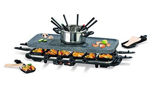 Raclette mit Fondue Set   Antihaftbeschichtung & Steinplatte zum Grillen und Braten   12 Raclette-Pfannen   8 Fondue-Gabeln   1.600 Watt