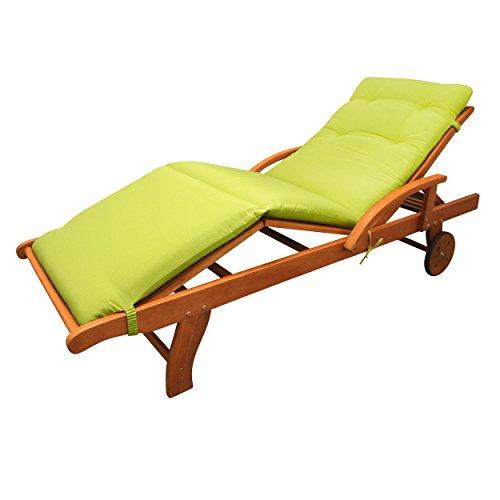 IND-70413-AUSL Liegenauflage Relax, Polsterauflage für Gartenliege mit Kreissteppung, 190 x 62 x 5 cm, Apfelgrün