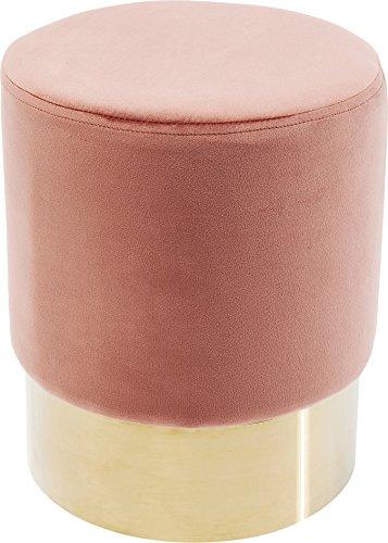 Kare Design Polsterhocker Cherry Brass, moderner Design Hocker mit Samtbezug, rund, 35 cm, Rosa-gold, Fußhocker, rose Samt, (H/B/T) 42x35x35 cm
