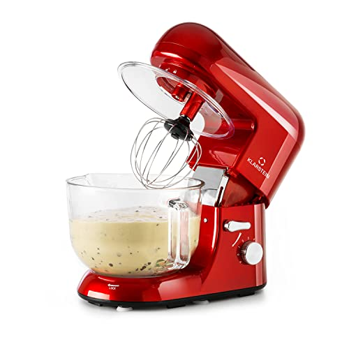 Klarstein Bella Rossa 2G - - Küchenmaschine, Rührmaschine, Knetmaschine, 1300 Watt, 1,6 PS, 5,2 Liter, planetarisches Rührsystem, 6-stufige Geschwindigkeit, Edelstahlschüssel, rot
