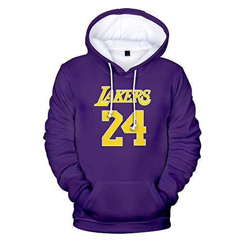 KJYAYA Unisex-Kapuzenpullover Kobe Bryant Lakers # 24 Hoodies Lässige Mode Männer Frauen Sweatshirts 3D-Druck Hip Hop Streetwear Hoodies