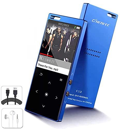 Tragbarer MP3 Player mit Bluetooth 16Gb verlustfreie HiFi-Musik-Player mit Touch-Taste, 1,8 Zoll Display, eingebauter Lautsprecher, FM-Radio, Voice-Recorder