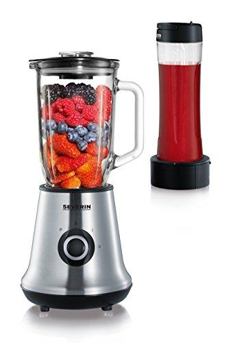 SEVERIN Multimixer, 2-in-1 Stand Mixer und Smoothie Maker mit 1 l Glas-Mixbehälter und Trinkbecher, Küchenmixer mit 2 Stufen und Pulse-Funktion, 500 W, Edelstahl/Schwarz, SM 3737