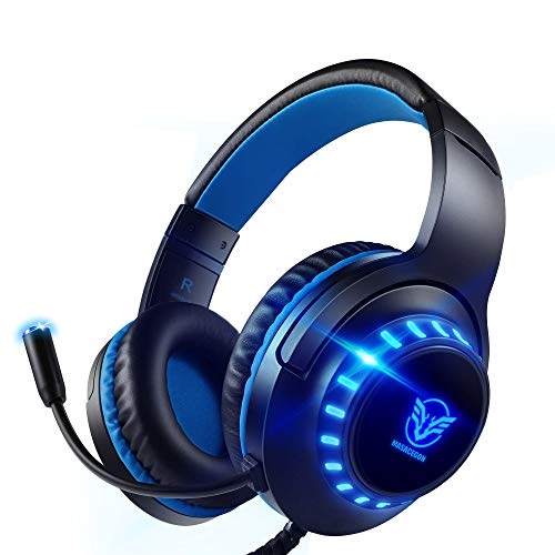 Pacrate PC Gaming Headset für PS4 Xbox One PS5, PS4 Headset mit Mikrofon & LED Lichter, PS4 Gamer Kopfhörer mit Mikrofon, 3.5mm Surround Sound Headset mit Intensiven Bässen für Switch Laptop Mac