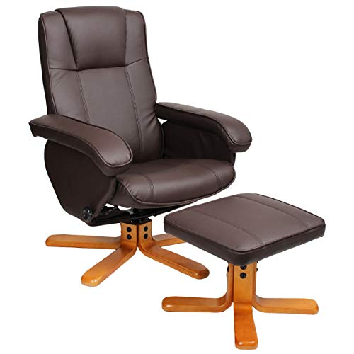 SVITA Charles Relaxsessel TV Sessel Wohnzimmersessel Hocker Beinablage Fernsehsessel Drehstuhl Lesesessel Braun