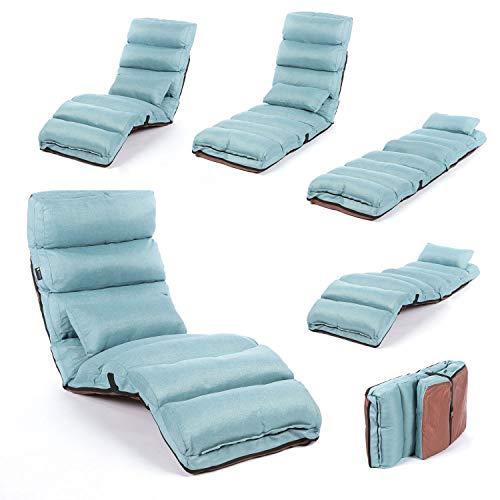 Smoothy Relaxliege klappbare Lounge Liege - 3-in-1 Sessel, Liege, Gästebett flexibel einstellbar; Blau