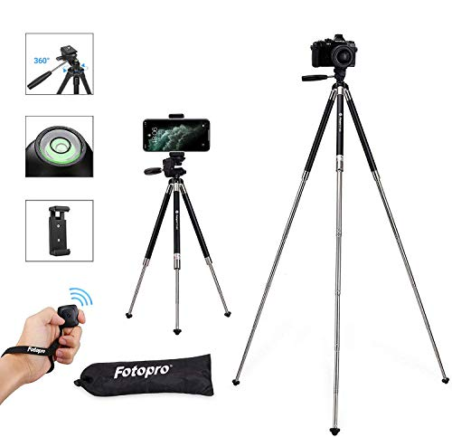 Fotopro Handy Stativ iPhone Stativ Kamera Stativ [2020 Upgraden Material] 39.5' Aluminum Leichtes Reisestativ mit Bluetooth Fernbedienung und Handy Halterung, Smartphone Stativ für Kamera
