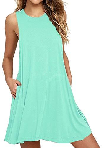 YMING Damen Ärmelloses Kleid Freizeitkleid Minikleid Rundhals Kleid Mintgrün XL