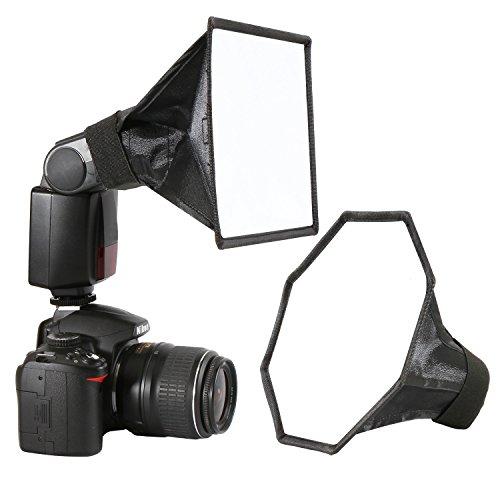 BLITZ Softbox Speedlight Diffusor Kit - 20cm Achteck Softbox + 20x15cm Softbox für Blitzgerät, Universalhalterung für Canon Nikon Sony