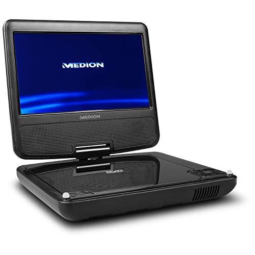 MEDION E72054 17,78cm (7 Zoll) tragbarer DVD Player (Auto-Kopfstützenhalterung, Autoadapter, 180° Grad drehbares Display, Kopfhöreranschluss, Xvid, MPEG4, MP3, Akku, Fernbedienung)