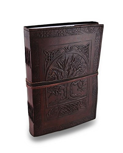Jaald 25 cm Notizblock Notizen Notizbuch Seiten Handgemacht Album Tagebuch Leder mit Lederbezug Geschenke Antik Keltische Baum des Lebens Gurt