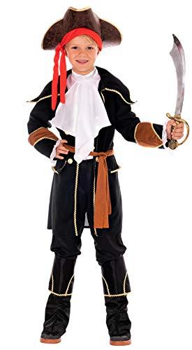 Magicoo komplettes Kapitän Piratenkostüm Kinder Jungen Schwarz/Braun/Gold/Weiß Gr. 110 bis 140 - Fasching Pirat Kostüm Kind (134/140)