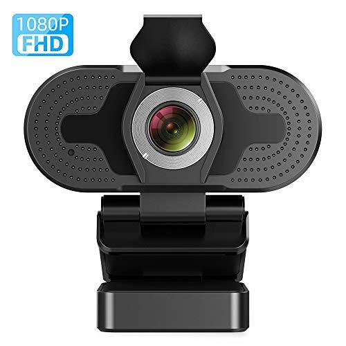 TROPRO Webcam mit Mikrofon, Full HD 1080P Computer Kamera mit Abdeckung USB PC Webcam mit Cover Laptop Streaming Kamera Für Skype,Zoom,FaceTime, Hangouts, etc.