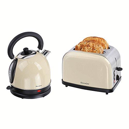 Frühstücks-Set 2 Teilig - Edelstahl Wasserkocher mit 1,8 Litern Fassungsvermögen und 2-Schlitz Toaster im Vintage Look - Toaster mit Aufwärm- und Auftaufunktion