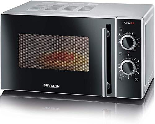 SEVERIN 2-in-1 Mikrowelle mit Grill 700 W, Grillofen mit 9 Automatikprogrammen, Mikrowelle mit Grillrost und Drehteller, silber-schwarz, MW 7875