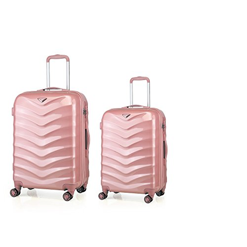 ABISTAB Verage Hartschalenkoffer Seagull 2er Koffer-Set M+L (66-75 cm) 4 Räder Rosegold TSA-Schloss, 2 teilig Hartschale-Reisekoffer-Set Trolley