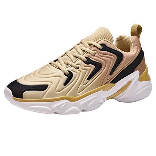 DAIFINEY Herren Mesh Turnschuhe Verschleißfest Straßenlaufschuhe Sportschuhe Laufschuhe Joggingschuhe Walkingschuhe Fitness Schuhe(1-Gold/Gold,42) 66