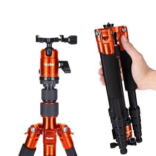 Rollei Compact Compact Traveler No I Aluminium I Orange I Leichtes-Reisestativ I Foto-Stativ mit geringem Packmaß I Kugelkopf und Stativtasche