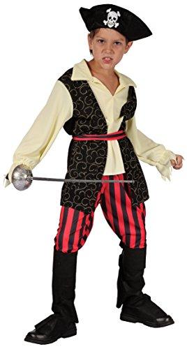 Magicoo Karibischer Piratenkostüm Kinder Jungen Rot/Schwarz/Beige Gr. 92 bis 140- Fasching Pirat Kostüm Kind (110/116)