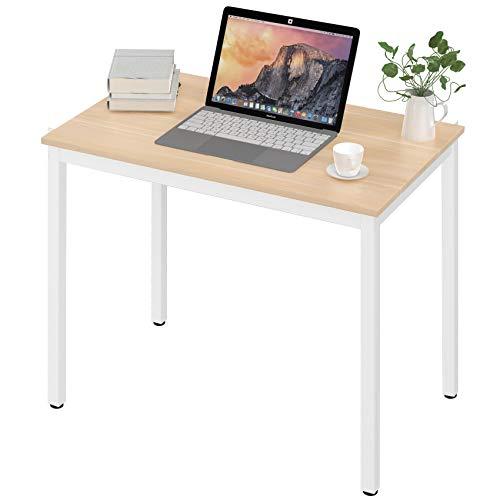 UMI.by Amazon Schreibtisch Computertisch Kleiner Tisch einfacher Aufbau laptophalter Bürotisch mit kabelmanagement 80 * 50 * 75 cm Eiche-Weiß