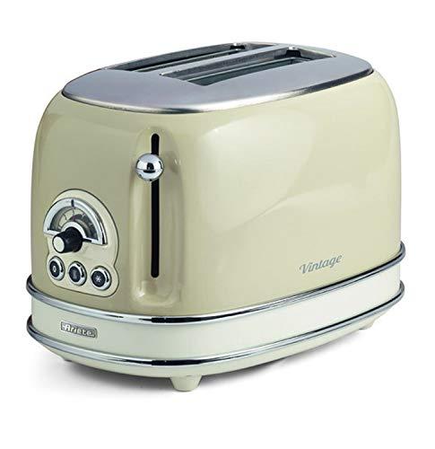 Ariete, 0155CR, Design-Toaster für zwei Scheiben, sechs Toaststufen, 810 W, Gehäuse aus Edelstahl, herausnehmbare Krümelschublade, Pastellbeige, Vintage-Beige