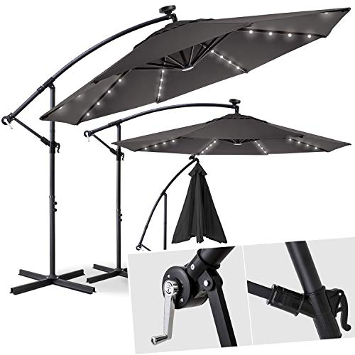 Kesser Alu Ampelschirm Ø 300 cm LED mit An-/Ausschalter Solarpanel Kurbelvorrichtung UV-Schutz Aluminium Wasserabweisende Bespannung - Sonnenschirm Schirm Gartenschirm Marktschirm Grau