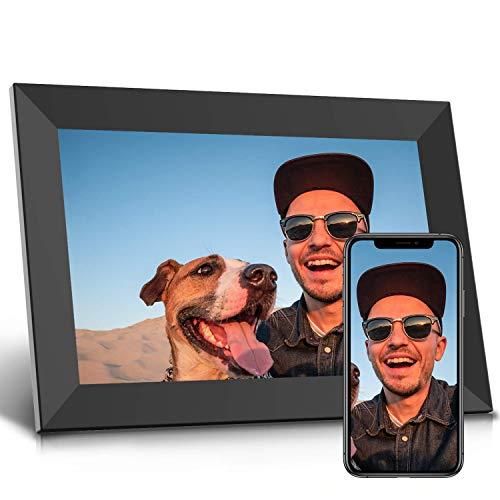 Jeemak Digitaler Bilderrahmen 10,1 Zoll WLAN Fotorahmen FHD IPS Touchscreen Mit Porträte oder Landscape Modus Fotos und Videos können jederzeit und von überall aus, über die App geteilt Werden