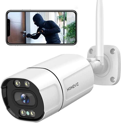 Homeviz 3MP Überwachungskamera Aussen, WLAN IP Kamera 2K Outdoor Kamera IP66 mit farbig Nachtsicht, Zwei Wege Audio, Humanoide- /Bewegungsmelder