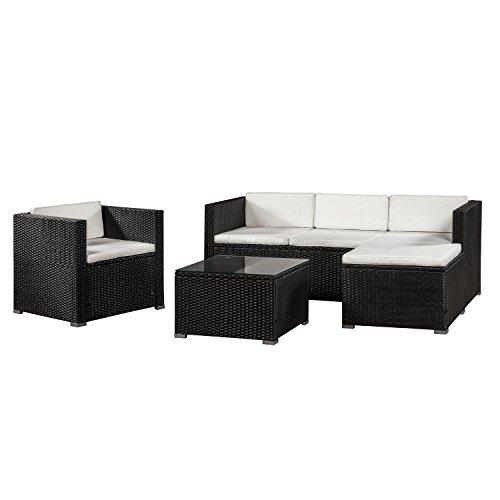 ArtLife Polyrattan Lounge Punta Cana L schwarz – Gartenlounge Set für 4-5 Personen – Gartenmöbel-Set mit Sessel, Sofa, Tisch & Hocker - Sitzbezüge in Creme