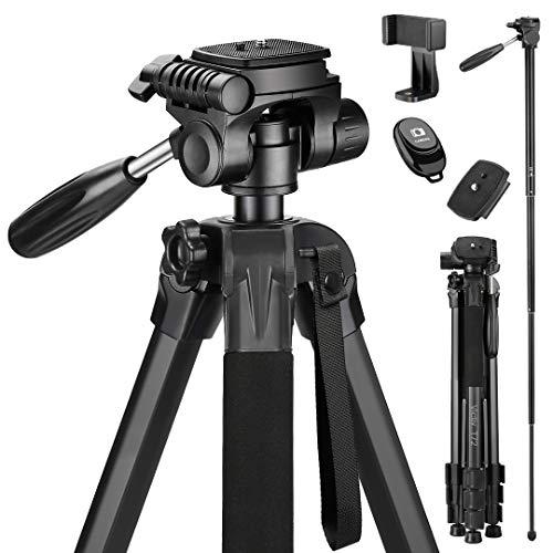 Victiv 182 cm Reisestativ Aluminium Einbeinstativ T72 - Leicht und Kompakt Kamerastativ für unterwegs mit 360° Panorama Kugelkopf und 2 Schnellwechselplatte für Spiegelreflexkamera - Schwarz