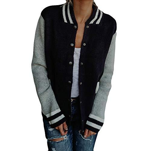 Sweatshirts Timogee Damen Jacken 2018 Frauen Langarm Patchwork Dünne Skin Suits Knopfleiste Taschen Sport Mantel(Schwarz,XL)